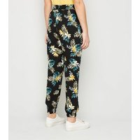 Girls Black Tropical Floral Print Joggers New Look