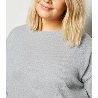 Curves Pale Grey Brushed Sweatshirt New Look