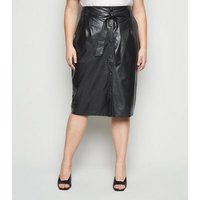 Curves Black Leather-look Pencil Skirt New Look