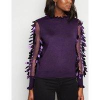 Blue Vanilla Dark Purple Leaf Mesh Sleeve Jumper New Look