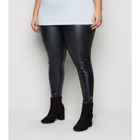 Curves Black Leather-Look Front Leggings New Look