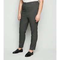 Curves Black Grid Check Tapered Trousers New Look