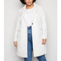 Curves Light Grey Fluffy Dogtooth Long Coat New Look
