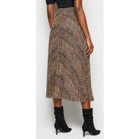 Brown Animal Print Pleated Midi Skirt New Look