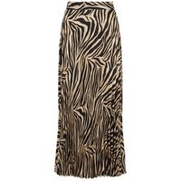 Brown Tiger Print Pleated Midi Skirt New Look