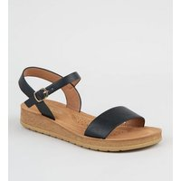 Wide Fit Black Leather-Look 2 Part Sandals New Look Vegan