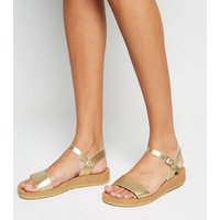 Wide Fit Gold Leather-Look 2 Part Sandals New Look Vegan