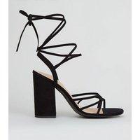 Black Suedette Ankle Tie Strappy Block Heels New Look Vegan