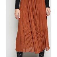 Rust Chiffon Pleated Midi Skirt New Look