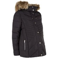 Maternity Black Faux Fur Trim Fitted Puffer Jacket New Look