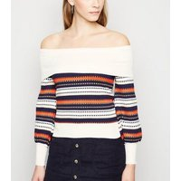Sunshine Soul Navy Stripe Bardot Jumper New Look