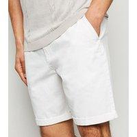 Men's White Shorter Length Chino Shorts New Look