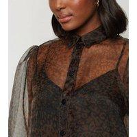 Brown Leopard Print Organza Puff Sleeve Shirt New Look
