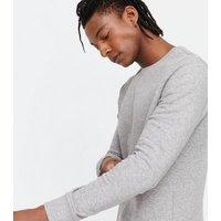 Grey Marl Plain Long Sleeve Crew Sweatshirt New Look