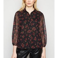 Black Ditsy Floral Mesh Puff Sleeve Shirt New Look