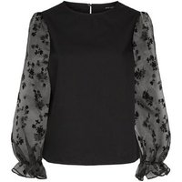 Black Floral Organza Puff Sleeve Top New Look
