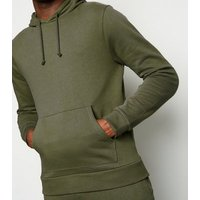 Khaki Cotton Blend Hoodie New Look