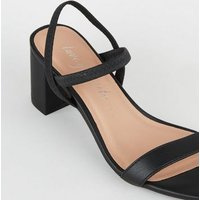 Black Leather-Look Elastic Strap Heeled Sandals New Look
