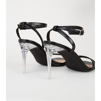 Black Leather-Look 2 Strap Clear Stiletto Heels New Look