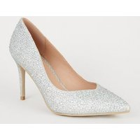 Silver Glitter Gem Pointed Court Shoes New Look Vegan