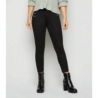 Petite Black Zip Side Biker Leggings New Look