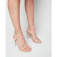 Cream Leather-Look V Strap Stiletto Sandals New Look