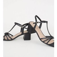 Black Leather-Look Strappy Flared Block Heels New Look