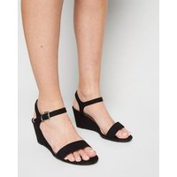 Wide Fit Black Suedette 2 Part Wedge Sandals New Look Vegan