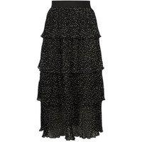 Black Spot Pleated Tiered Midi Skirt New Look