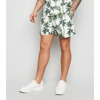 White Tropical Palm Print Shorts New Look
