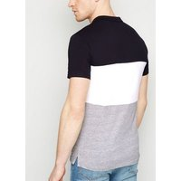 Navy Colour Block Muscle Fit Polo Shirt New Look