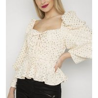 Gini London Cream Metallic Spot Ruched Blouse New Look