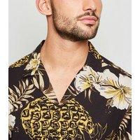 Men's Black Tropical Pineapple Print Shirt New Look