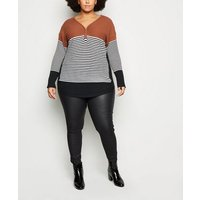 Apricot Curves Brown Stripe Zip Neck Jumper New Look