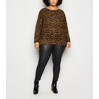 Apricot Curves Brown Animal Print Oversized Top New Look