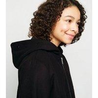 Girls Black Suedette Faux Fur Trim Coat New Look