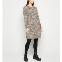 Off White Leopard Jacquard Smock Dress New Look