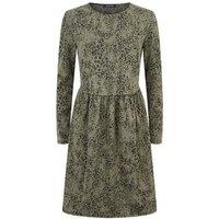 Green Leopard Jacquard Smock Dress New Look