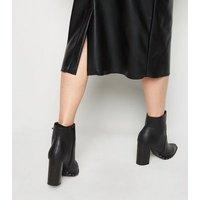 NA-KD Black Leather-Look Midi Skirt New Look