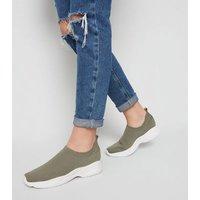 Girls Khaki Knit Sock Trainers New Look