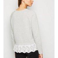 JDY Pale Grey Broderie Trim Sweatshirt New Look