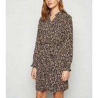JDY Black Floral Shirred Mini Dress New Look