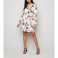 JDY White Floral Long Sleeve Dress New Look