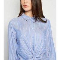 JDY Pale Blue Stripe Knot Front Shirt Dress New Look