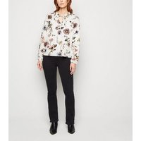 JDY White Floral Frill Neck Blouse New Look