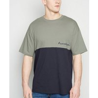 Olive Colour Block Brooklyn Slogan T-Shirt New Look