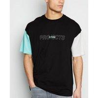 Black Colour Block Projects Slogan T-Shirt New Look