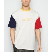 Off White Colour Block New York Slogan T-Shirt New Look