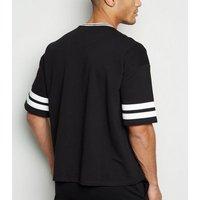 Men's Black Stripe New Jersey Slogan T-Shirt New Look