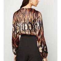 Pink Vanilla Brown Satin Tiger Print Bodysuit New Look